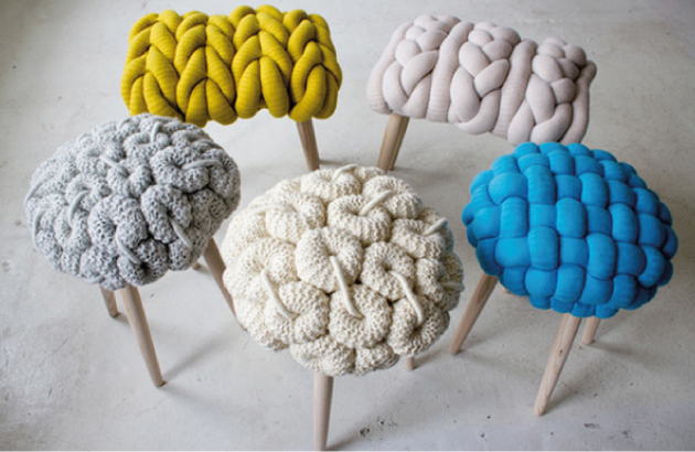 knit stool by Claire-Anne O'Brien