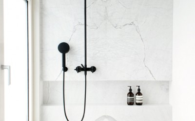 Matt Black + Marble | A small bathroom renovation
