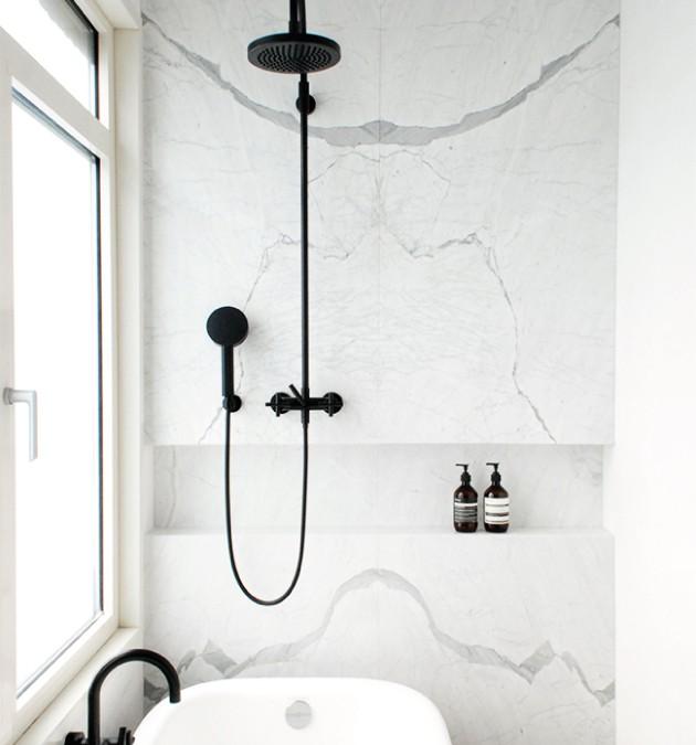 Matt Black + Marble | A small bathroom renovation