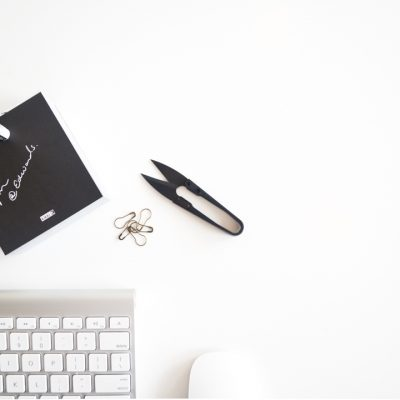 Black office snips on desk